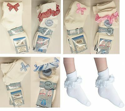 3,6 Pairs GIRLS SCHOOL COTTON LACE SOCKS FRILLY LACE ANKLE SOCKS ALL SIZES