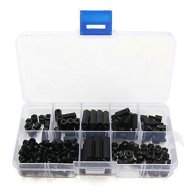 160Pcs M3 Nylon Black M-F Hex Spacers Screw Nut Assortment