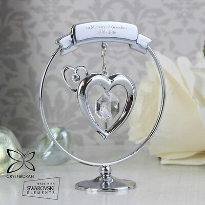 PERSONALISED Engraved Heart Crystal Ornament Birthday Valentines Mothers Gift