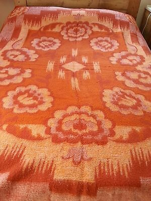 Vintage retro french funky floral orange 2 toned double blanket 80 x 86 inch F1
