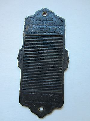 Antique Match Scratch / Strike Plate 1900's Matches Smoke Vintage Cast Iron