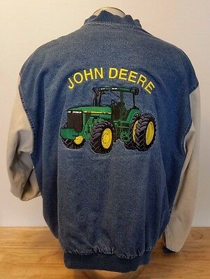 John Deere Tractor Varsity Style Distressed Denim Jacket Lined Xxl Embroidered