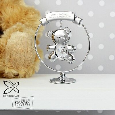 PERSONALISED Engraved Teddy Crystal Ornament Christening Naming Day Gift Idea
