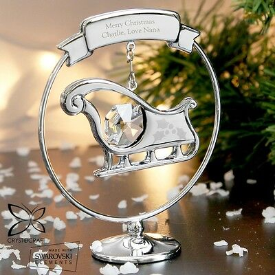 PERSONALISED Engraved Sleigh Crystal Ornament Christmas Present Gift Idea