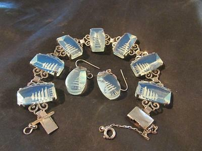Fabulous Vintage Quality Japanese Solid Silver Pagoda Bracelet & Earrings