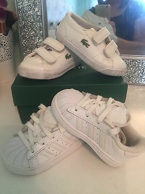 Baby Boy Size 3 Trainers 2 Pairs Of Training Shoes Lacoste Adidas