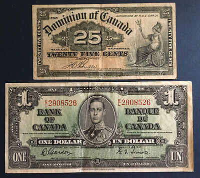 Canada - 1900, Twenty Five (25) Cents; 1937 $1 dollar, TWO VF Banknotes