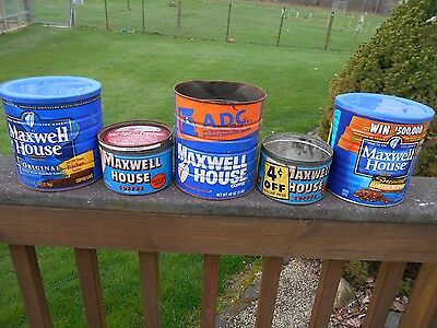 5 vintage Maxwell House metal coffee cans/tins - 2 key wind - advertising