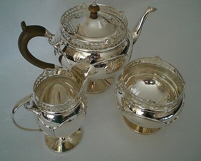 Antique GEORGE V Solid STERLING SILVER 3 piece TEA SET - Birm.1912