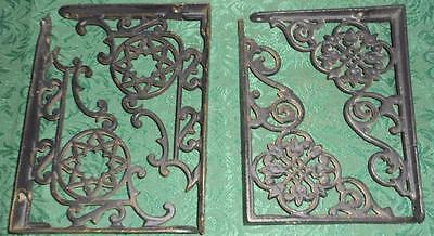 2 Pairs Antique Cast Iron Floral Shelf Brackets Corbels Fleur de lis and stars