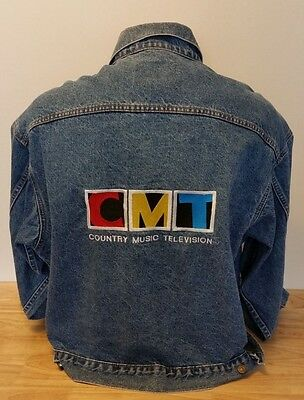 Country Music Television Classic Cmt Logo Denim Jacket Size Xl Vtg