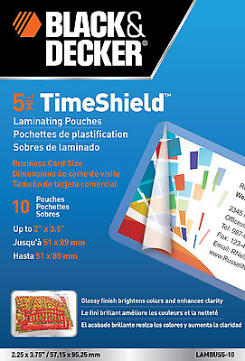 Thermal Laminating Pouches TimeShield Business Card 5 Mil 10 Pack Office NEW