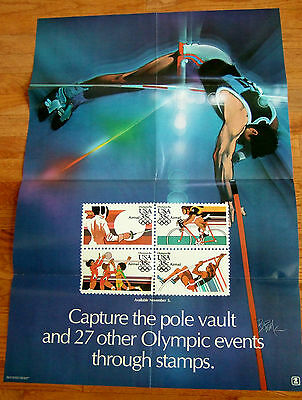 Us Post Office Stamp Poster Olympic Pole Vault And Events