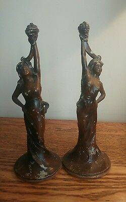 UNUSUAL DECORATIVE PAIR OF FRENCH FAUX BRONZE/SPELTER CAST METAL FIGURES c1900