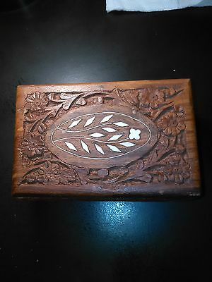 Old Antique Beautiful Hand Carved Floral Design Wooden Jewellery Box