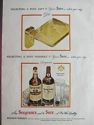 Vintage 1946 Seagram's Whiskey Liquor Full Page Color Magazine Ad