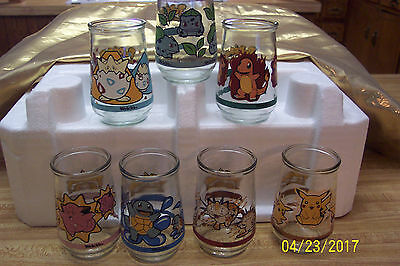 [7] vintage 1999 POKEMON WELCH`S JELLY JAR GLASSES COLLECTIBLES