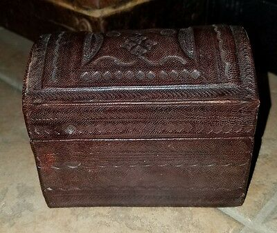 Vintage Tooled Leather Dome Top Box Chest