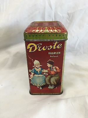 Antique SMALL METAL DROSTE'S COCOA BEVERAGE ADVERTISING SAMPLE TIN 4 OZ HOLLAND