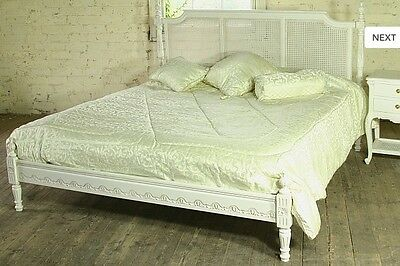 Regency 5' King Size French Style Louis Mahogany Rattan Bed Ant White Brand New