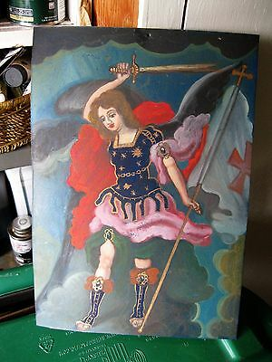 Original Contemporary Oil Painting On Tin Of An Archangel Great Master Brushwork