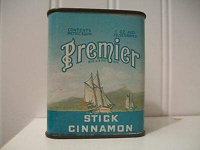 Premier Spice Tin Early Antique Advertising Can Cinnamon
