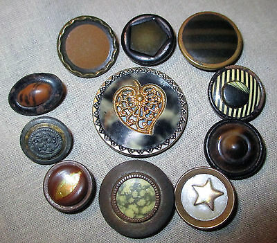 Lot 11 Antique Victorian Celluloid & Ivoroid Metal Buttons