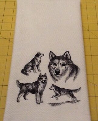 SIBERIAN HUSKY Collage Sketch Embroidered Kitchen Hand Towel 100% cotton XL