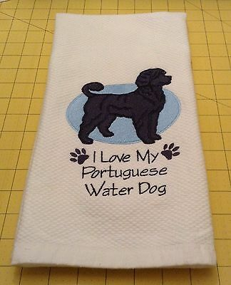 I Love My Portuguese Waterdog (Black) Embroidered Kitchen Hand Towel, xtra lg