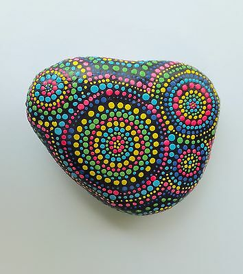 Handpainted Stone/Paper Weight With Dot Art