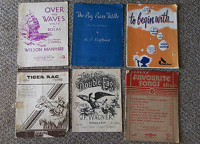LOT OF 6 x VINTAGE SHEET MUSIC inc OVER THE WAVES, TIGER RAG, BIG BASS FIDDLE