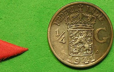 L-too: 1941-P NETHERLANDS EAST INDIES 1/4 GULDEN ~~ NOW INDONESIA ~SILLVER(3194