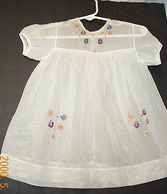 Child's Antique? Vintage Dress Embroidered Flowers Great for Antique Dolls