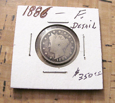 Key Date Very Rare 1886 Liberty V Nickel.f.