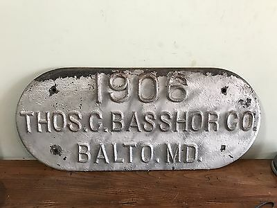 Antique Industrial Cast Iron Architectural Building Sign -Baltimore MD-