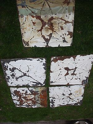 "5 - 24"" x 24"" Antique Ceiling Tin Tile Vintage Reclaimed Salvage Re Purpose Art"