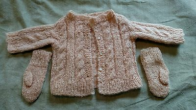 VINTAGE handmade knit peach colored infant sweater and mitten set.