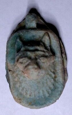 Egyptian Pharaoh Faience Amulet, Anubis Proctor of Tombs,  with A Hole for Chain