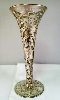 "Sterling Silver Overlay 10.25"" Glass Trumpet Vase w/ Engraved Flowers & Foliage"
