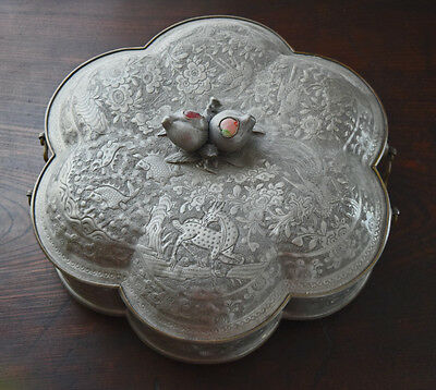 Antique 19Th Century Chinese Pewter Repousse Decorated Lobed Covered Dish Marked