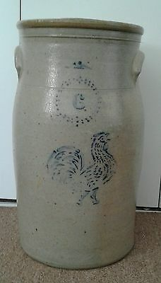 6 Gallon Handled Butter Churn Crock with Blue Strutting Cock Rooster Chicken