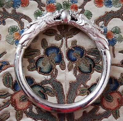 Antique Chinese Qing Dynasty Double Dragon Chasing A Pearl Silver Bracelet