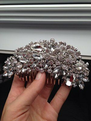 Bridal pearl bling hair comb vine flower crystal Headpiece  pageant prom usa lar