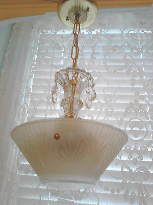 Antique Art Deco Ceiling Light Chandelier three light