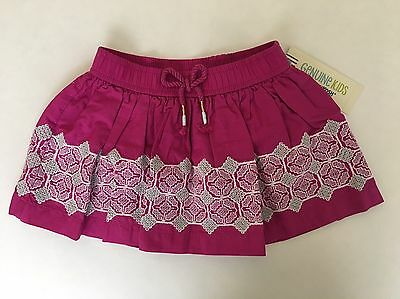 NEW Genuine Kids From Oshkosh Toddler Girls Pink Skirt W Embroidery - Size 2T