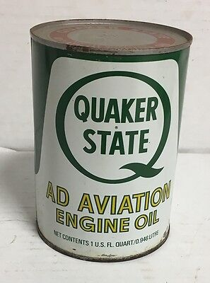 Vintage Quaker State Ad Aviation Engine Oil Can 1 Quart Bottom Opened