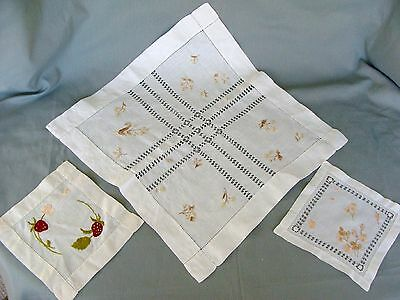 3 Early VTG~Antique Lot Linen & Royal Silk Embroidered Doilies~1 LG~Drawn Work