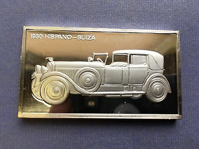 1930 Hispano-Suiza The Franklin Mint 1000 Grains Sterling Silver Art Bar Cars