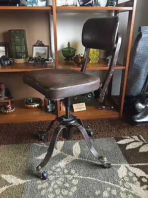 Vtg Remington Rand Office Chair 1949 Industrial Machine Age Rolling Adjustable