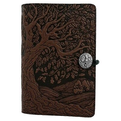 """Tree of Life handcrafted Leather Journal in chocolate Large 6""""x9"""" Oberon Design"""